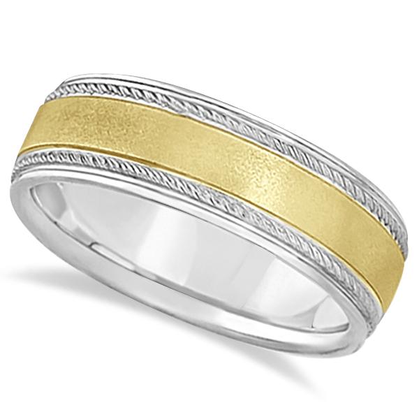 Matt Finish Two Tone Wedding Ring Milgrain 18k Gold (7mm)