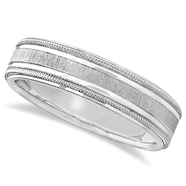 Carved Edged Milgrain Wedding Ring in 14k White Gold (5mm)