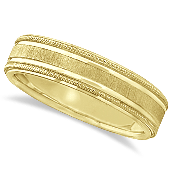 Carved Edged Milgrain Wedding Ring in 14k Yellow Gold (5mm)