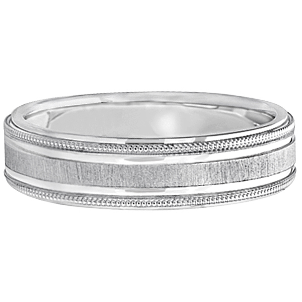 Carved Edged Milgrain Wedding Ring in Palladium (5mm)