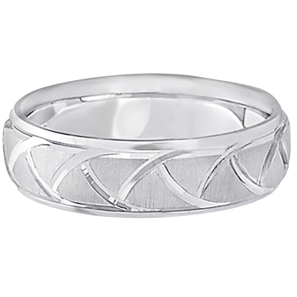 Men's Carved Groove Wedding Band in 18k White Gold (7mm)