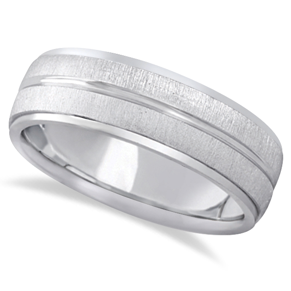 Modern Carved Wedding Band For Men in 18k White Gold (7mm)