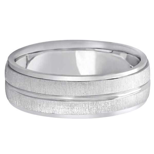 Modern Carved Wedding Band For Men in Platinum (7mm)