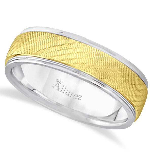 Diamond Cut Wedding Band For Men in 14k Two Tone Gold (7mm)