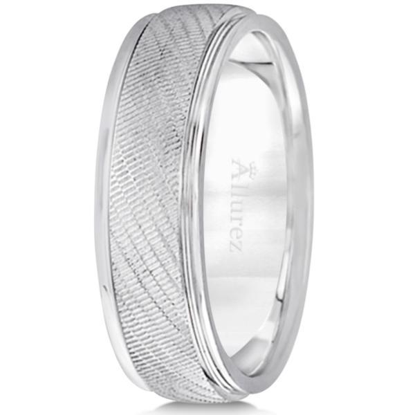 Diamond Cut Wedding Band For Men in 18k White Gold (7mm)