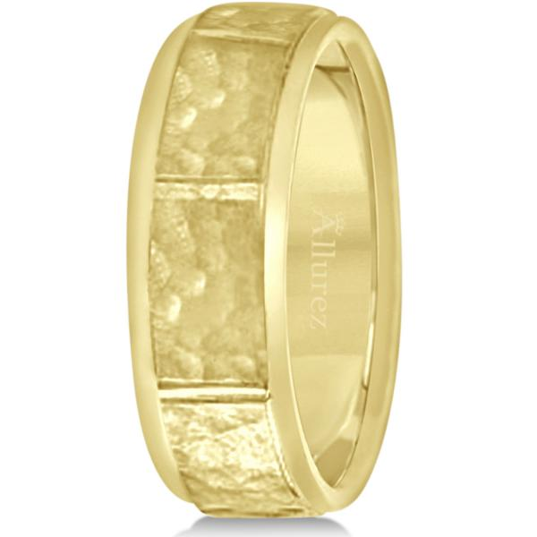 Men's Hammered Wedding Ring Wide Band 14k Yellow Gold (7mm)