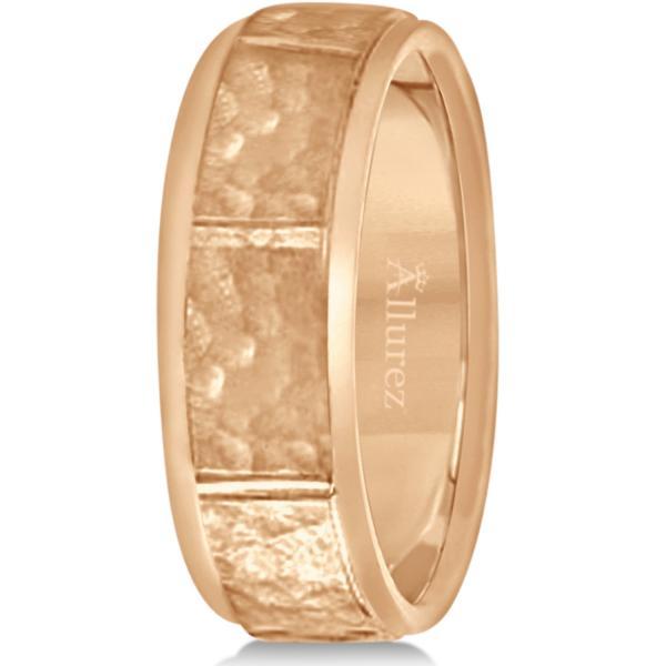Men's Hammered Wedding Ring Wide Band 18k Rose Gold (7mm)