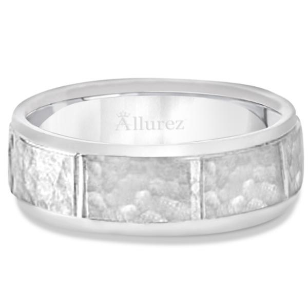 Men's Hammered Wedding Ring Wide Band Palladium (7mm)
