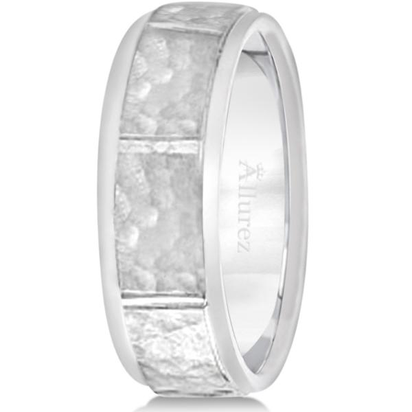Men's Hammered Wedding Ring Wide Band Platinum (7mm)