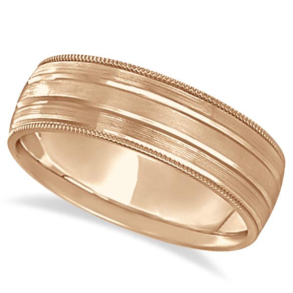 Milgrain Edge Satin Finish Wedding Ring Band 14k Rose Gold (6mm)