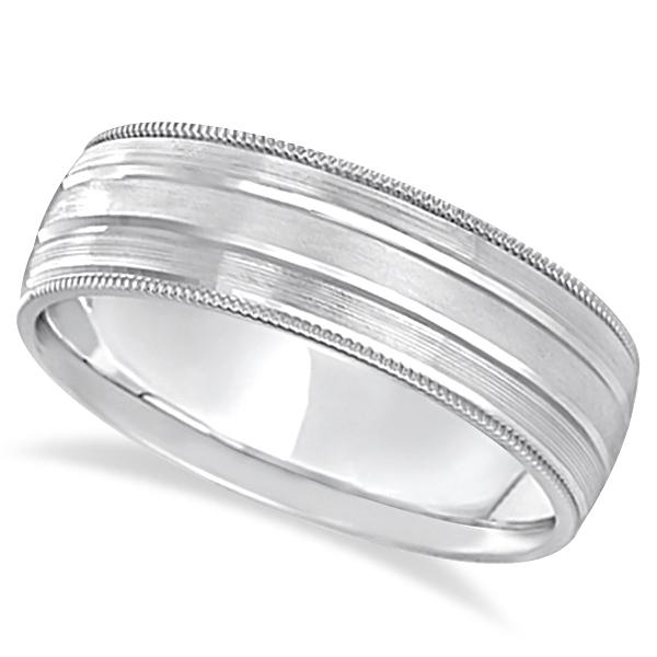 Milgrain Edge Satin Finish Wedding Ring Band 18k White Gold (6mm)
