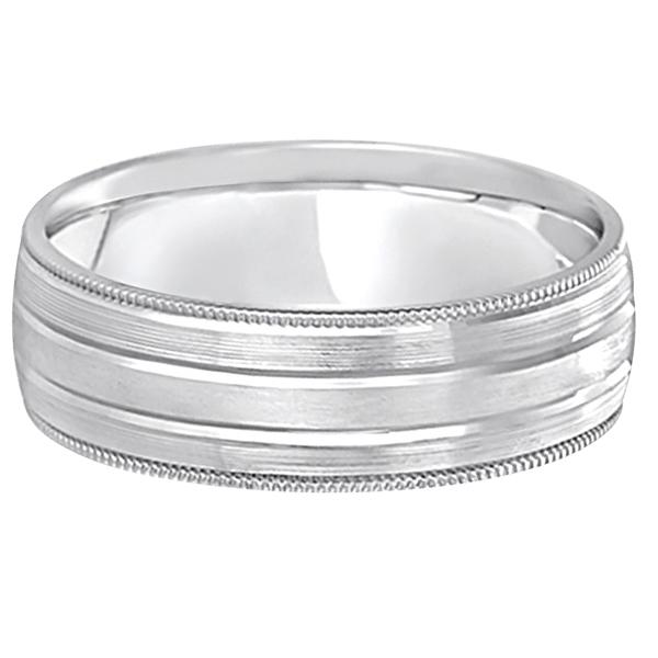 Milgrain Edge Satin Finish Wedding Ring Band Palladium (6mm)