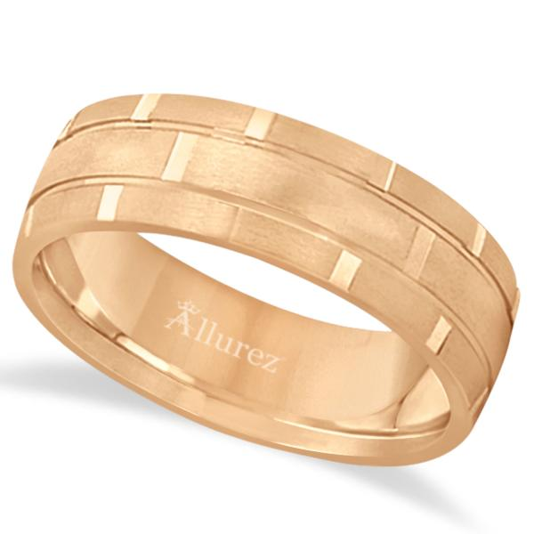 Contemporary Carved Mens Unique Wedding Ring 14k Rose Gold (6mm)