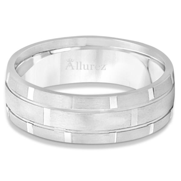 Contemporary Carved Mens Unique Wedding Ring 14k White Gold (6mm)