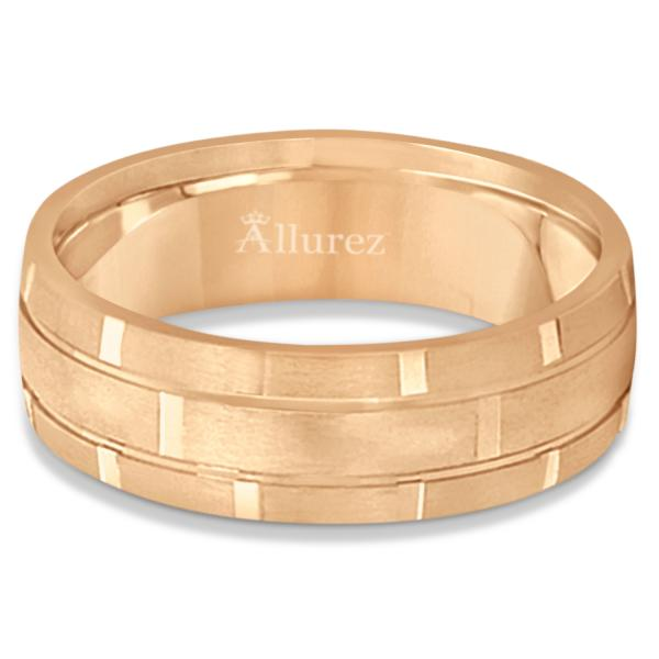 Contemporary Carved Mens Unique Wedding Ring 18k Rose Gold (6mm)