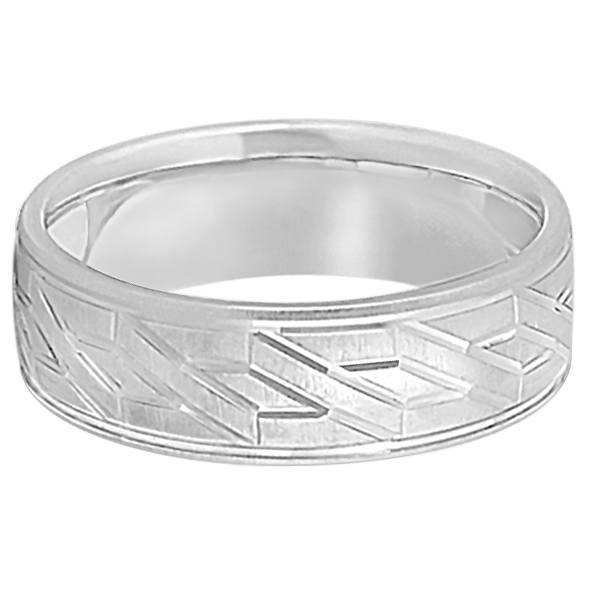 Men's Carved Unique Wedding Band in 14k White Gold (7mm)