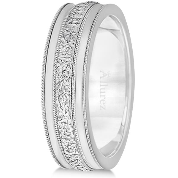 Carved Men's Wedding Ring Diamond Cut Band 14k White Gold (7 mm)