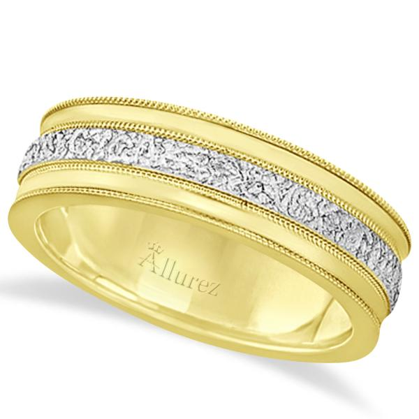 Carved Men's Wedding Ring Diamond Cut Band 14k Two Tone Gold (7 mm)