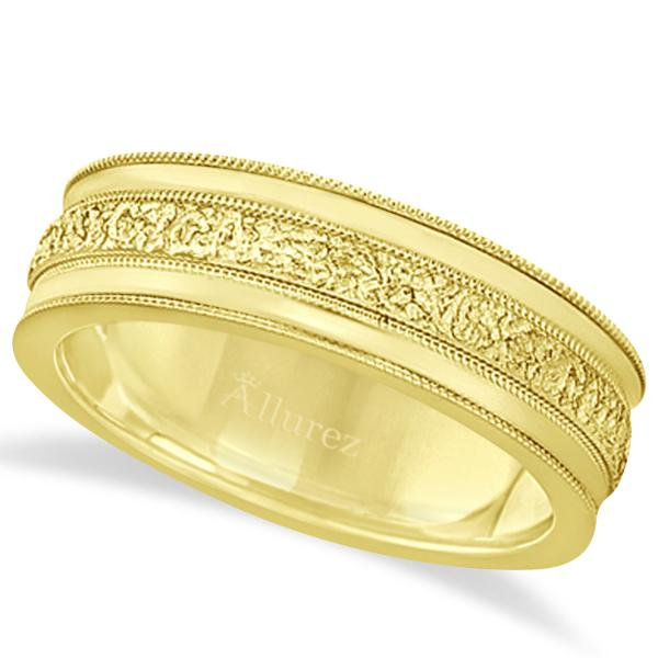 Carved Men's Wedding Ring Diamond Cut Band 18k Yellow Gold (7 mm)