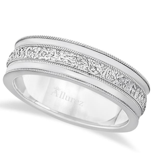 Carved Men's Wedding Ring Diamond Cut Band in Platinum (7 mm)