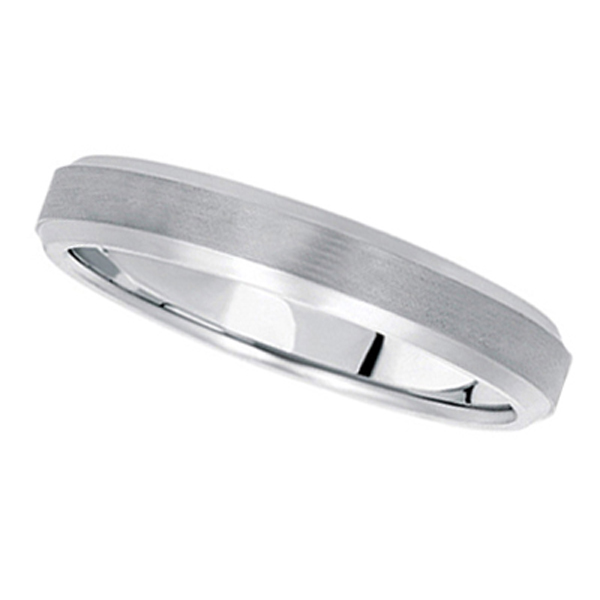 Comfort-Fit Carved Wedding Band in 14k White Gold (4mm)
