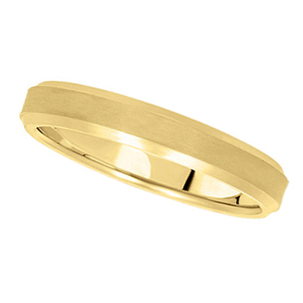 Comfort-Fit Carved Wedding Band in 18k Yellow Gold (4mm)