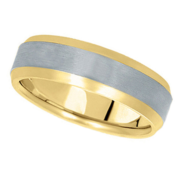 Comfort-Fit  Two-Tone Carved Wedding Band in 14k Yellow & White Gold (6mm)