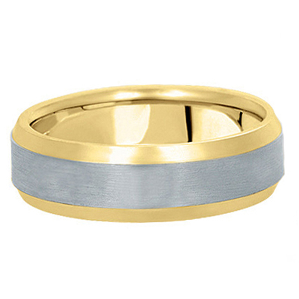 Comfort-Fit  Two-Tone Carved Wedding Band (6mm)