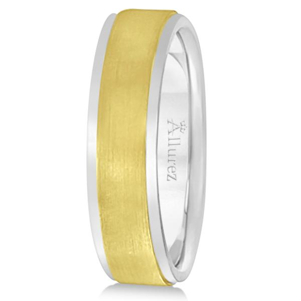 Comfort-Fit  Two-Tone Carved Wedding Band in 18k White & Yellow Gold (7mm)