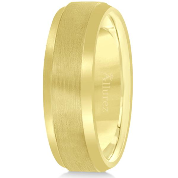 Comfort-Fit Carved Wedding Band in 18k Yellow Gold (7mm)