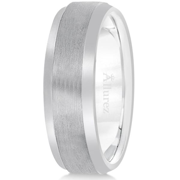 Comfort-Fit Carved Wedding Band in Palladium for Men (7mm)