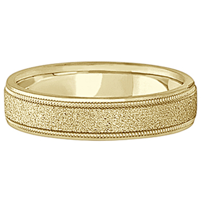 Mens Diamond Cut Carved Wedding Ring Stone Finish 14k Yellow Gold (5mm)