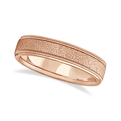 Mens Diamond Cut Carved Wedding Ring Stone Finish 18k Rose Gold (5mm)