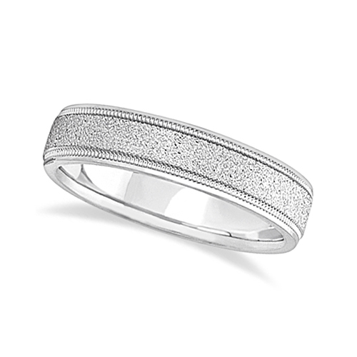 Mens Diamond Cut Carved Wedding Ring Stone Finish 18k White Gold (5mm)