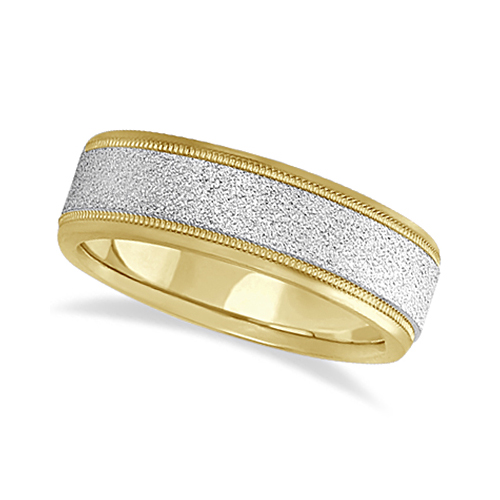 Mens Diamond Cut Carved Wedding Ring Stone Finish 14k Two-Tone Gold (7mm)