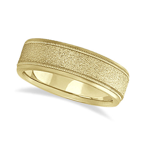 Mens Diamond Cut Carved Wedding Ring Stone Finish 14k Yellow Gold (7mm)
