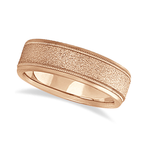 Mens Diamond Cut Carved Wedding Ring Stone Finish 18k Rose Gold (7mm)