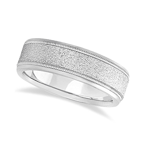 Mens Diamond Cut Carved Wedding Ring Stone Finish 18k White Gold (7mm)