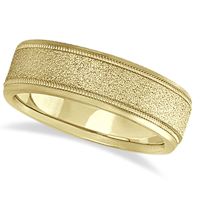 Mens Diamond Cut Carved Wedding Ring Stone Finish 18k Yellow Gold (7mm)
