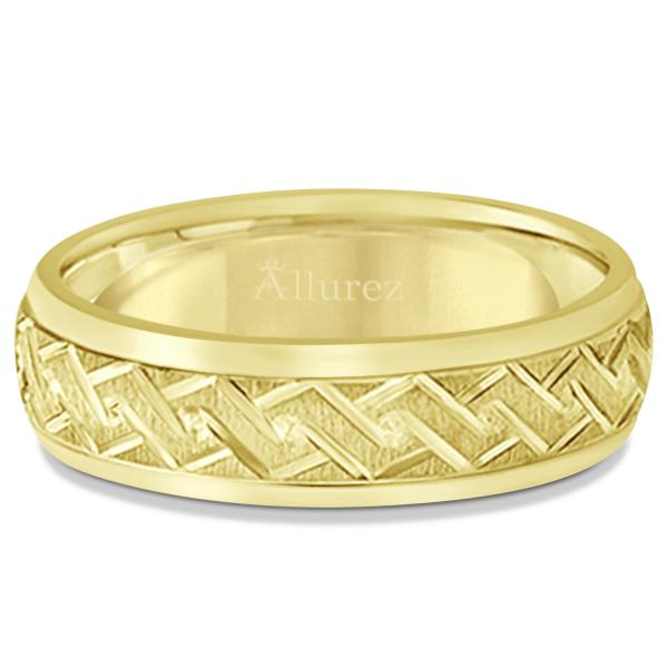 Men's Fancy Carved Comfort-Fit Wedding Band 14k Yellow Gold (5mm)
