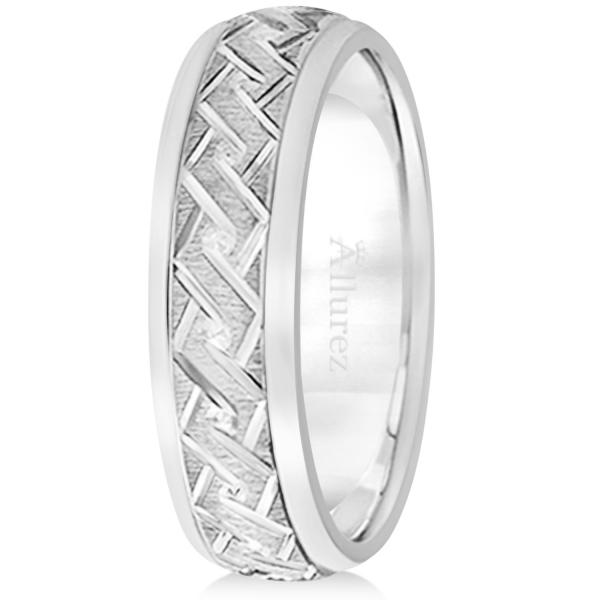 Men's Fancy Carved Comfort-Fit Wedding Band 18k White Gold (5mm)
