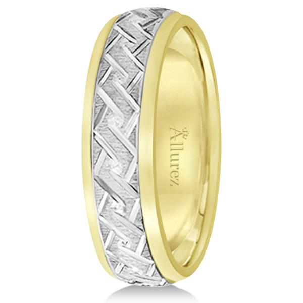 Men's Carved Two-Tone Wedding Band 18k White & Yellow Gold (5mm)