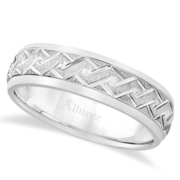 Men's Fancy Carved Comfort-Fit Wedding Band in Palladium (5mm)