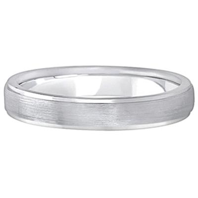 Ridged Wedding Ring Band Satin Finish 14k White Gold (4mm)
