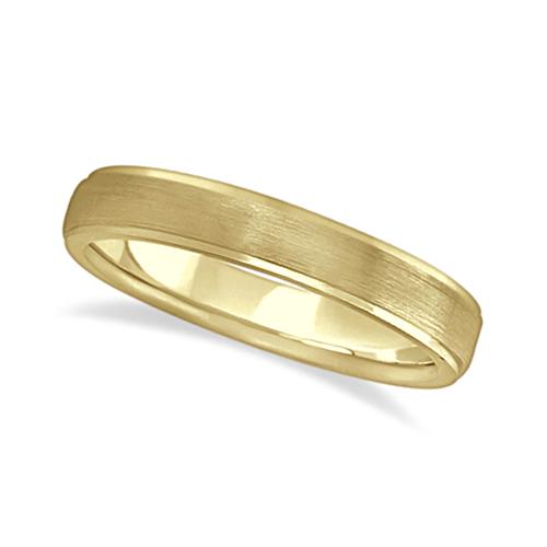 Ridged Wedding Ring Band Satin Finish 14k Yellow Gold (4mm)