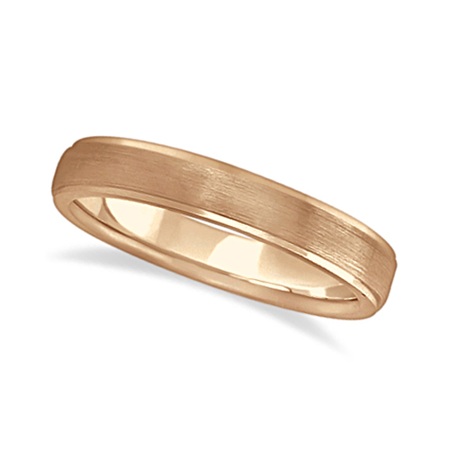 Ridged Wedding Ring Band Satin Finish 18k Rose Gold (4mm)