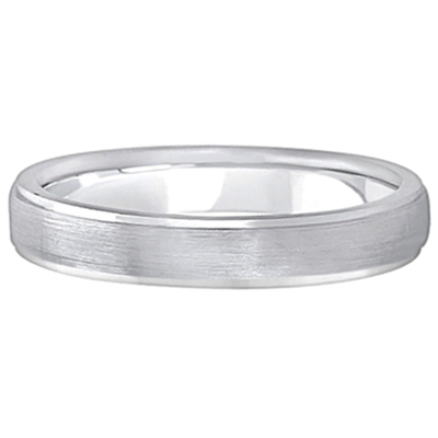 Ridged Wedding Ring Band Satin Finish 18k White Gold (4mm)