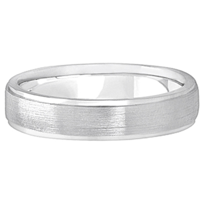 Men's Ridged Wedding Ring Band Satin Finish 14k White Gold (5mm)