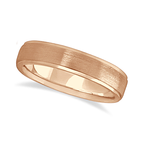 Men's Ridged Wedding Ring Band Satin Finish 18k Rose Gold (5mm)