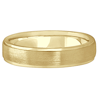 Men's Ridged Wedding Ring Band Satin Finish 18k Yellow Gold (5mm)